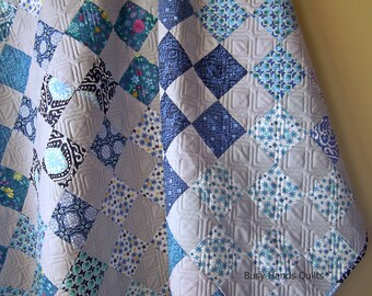 Modern Lap Quilt-Handmade Blanket-Throw Quilt-Sofa Throw-Lap Quilt-Grey and Blue-Patchwork Quilt-Quilts For Sale-Bed Coverlet-Ready to Ship