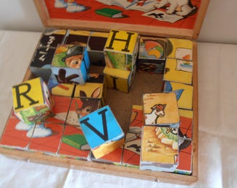 A French vintage box of children's puzzle blocks