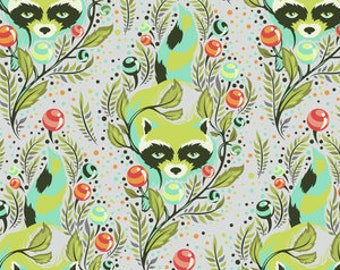 Fat Quarter Raccoon in Agave  - Tula Pink's All Stars Fabric for Free Spirit Fabrics