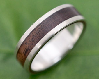 Lados Kentucky Black Walnut Wood Ring - recycled sterling silver walnut wood wedding ring, mens wood wedding band, ecofriendly wedding band