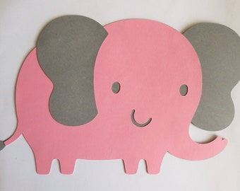 "Set of 3 (8""W x 5""H) Large Pink and Grey Elephant Cut Outs, Die Cuts"
