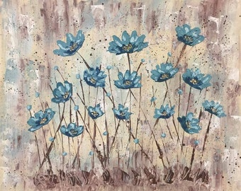 Abstract Impasto Teal Poppy Painting, 16x20, Canvas, Floral, Flowers, Poppy, Painting, Teal, Blue, Palette Knife, Impasto, Custom, Acrylic