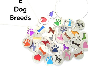 E Breeds Dog Pendant Sterling Silver Necklace, Pet Lover Gift, Animal Themed, Breed, Colorful Jewelry, Gift for Her, Dog Walker Gift