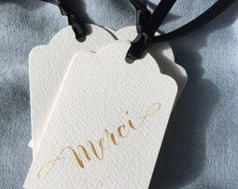 Calligraphy gift tag, Thank you tag, Merci, Gracias, set of 5