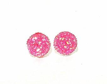 Hot Pink Druzy Crown Earrings , Pink Earrings, Crystal Earrings, Faux Druzy Earrings, Pink Earrings,Druzy Earrings