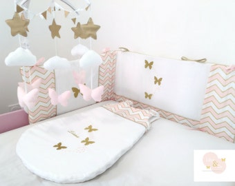 Baby sleeping bag winter / pink and gold / Baby girl sleeping bag winter / Baby bedding / girl decoration girl gold and pink