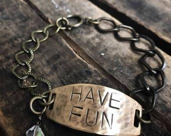 Have Fun Handstamped Brass Chain Bracelet