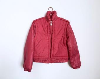 Dark Pink Vintage Ispo Ski Jacket | 1970's/1980's | Jacket-Vest Combo | Shoulder Epaulettes