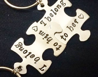 I Belong to You Belong With Me, I Love Him, I Love Her, couple keychain, gifts for him and her, anniversary gifts, interlocking jigsaw piece