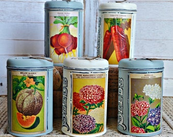 Hand Painted Vintage French  Seed Label Garden Twine Tins