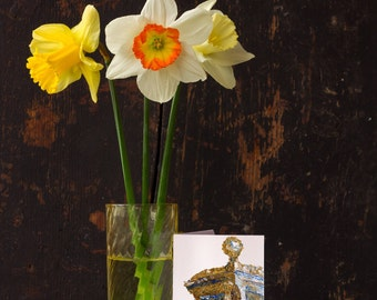 "Greeting Cards - ""Bronze Call Box"" - 5.5"" x 4"" folded note card & envelope - blank interior - art print"