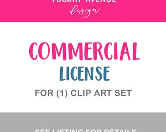 Commercial License for 1 Clip Art Set Unlimited use