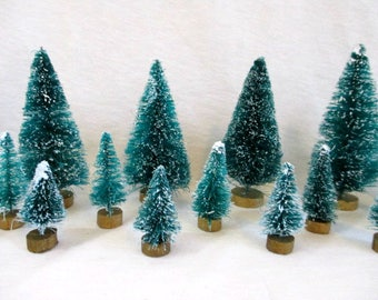 Bottle Brush Trees Flocked Christmas Trees Sisal Trees Craft Supplies Vintage Christmas Craft Supply Christmas Mini Bottle Brush Tree