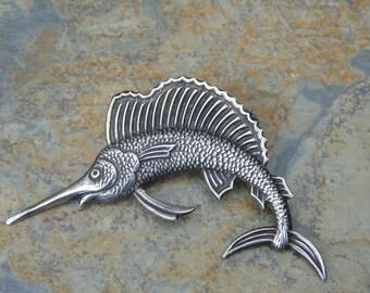 Vintage Sterling Silver Detailed Marlin / Swordfish Pin / Brooch