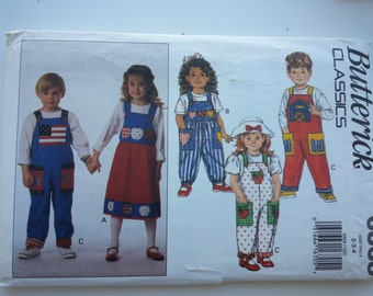 Girls jumper/ back to school/Childrens/ play clothes/ overalls/ 90s kids /1993 sewing patterns, Sizes 2 3 4, Chest 21 22 23, Butterick 6868