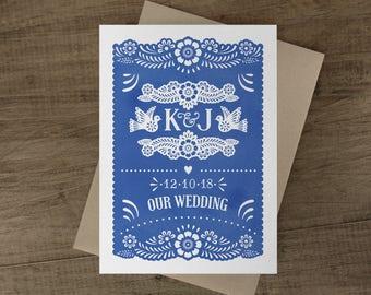 Papel Picado Wedding Invitation Cards - Papel Picado Suite -