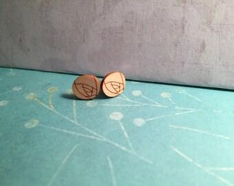 Rose - Wooden Laser Cut Earrings