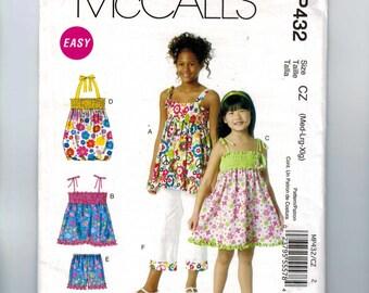 Girls Sewing Pattern McCalls MP432 Girls Elastic Dress Top Shorts Pants Size 7 8 10 12 14 16 Breast 26 27 28 29 30 32  34UNCUT