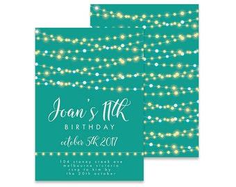 Printable 11th Birthday Invitation | Garland Pretty Lights | Printable DIY Invite, Affordable Invitation, Digital Invite, Girl's Invite 11th