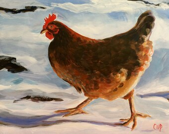 """No Time for Tea! Chicken in the Snow  8x10"""" Giclee Print"""