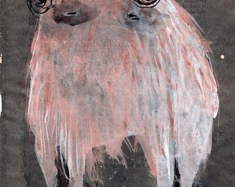 SALE Hairy Beast with Garland / 100 Days Project 2017 / Original Monster Monoprint