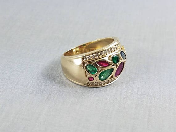 Modern estate 14k gold ruby diamond sapphire and diamond wide band ring, size 7.5 / 1.75 carats / fancy cut marquise / pear / square / oval