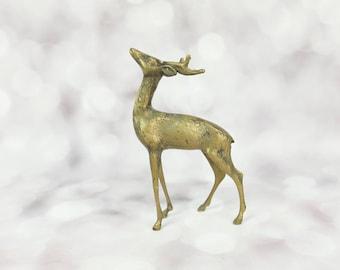 Brass Reindeer Christmas Reindeer Vintage Brass Deer Figurine rustic 1970s Stag Mid Century Decor