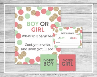 Mint and Coral Gender Reveal Voting Game - Printable Gender Reveal Vote Cards - Gender Reveal Voting Station - Coral Mint Gold - SP132