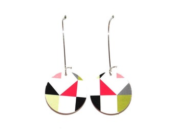 Earrings made of recycled cardboard, green & pink