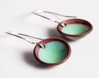 Isla Earrings - Enamel on Copper, domed circles, bowls, geometric dangles
