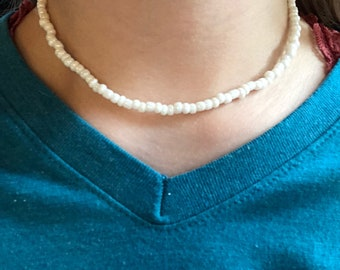 White seed bead necklace