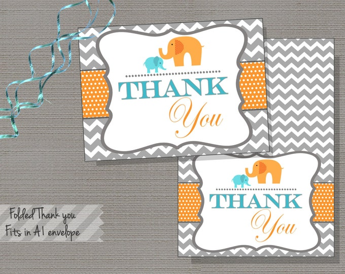 Elephant Folded Thank you card, Chevron, Blue and Orange, Teal, Baby Shower, INSTANT DOWNLOAD, DIY, Printable - Breanna Collections