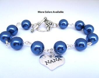 Nana Pearl & Charm Bracelet-Nana jewelry-Nana gift-Nana birthday gift-Nana bracelet-Nana jewelry-Nana-Wedding shower jewelry-Weddings, B545