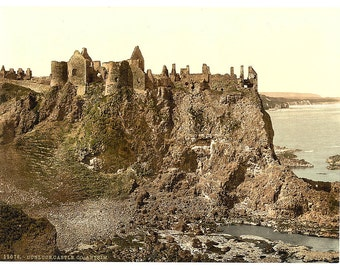 Dunluce Castle. County Antrim, Ireland] 1890. Vintage photo postcard reprint 8x10-up. Northern Ireland County Antrim