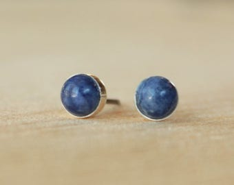 Sodalite Gemstone 5mm Bezel Set on Niobium or Titanium Posts (Hypoallergenic Stud Earrings for Sensitive Ears)