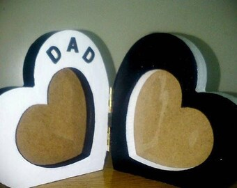 Double heart 'Dad' picture frame. REDUCED.