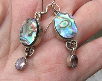 Natural  Mother of Pearl and Amethyst Earrings, 925 Silver, One of a Kind