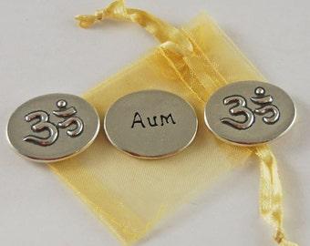 Set of 3 Aum (Om) Symbol Inspiration Coins with Organza Bag