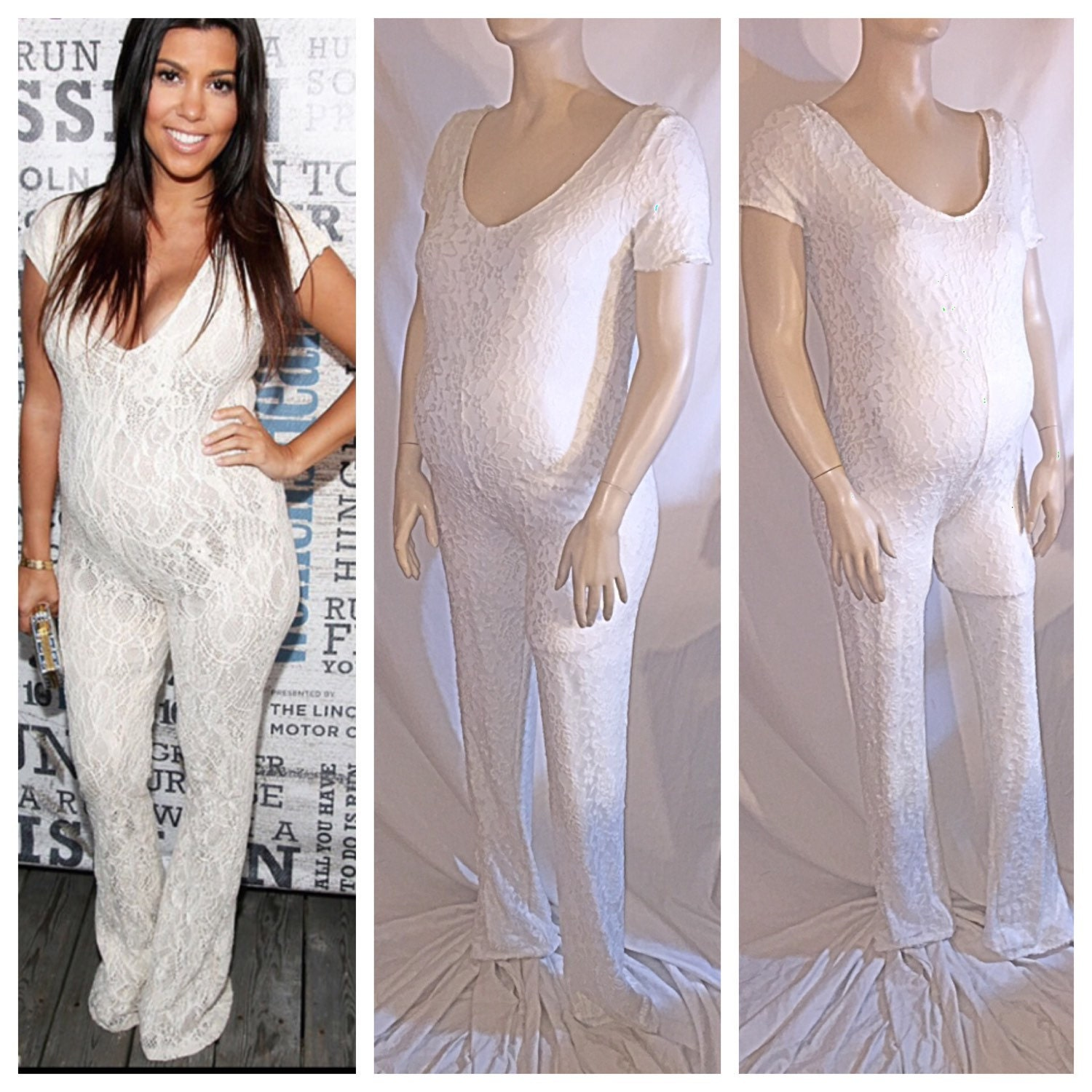 Maternity lace jumpsuit maternity wear babyshower photo