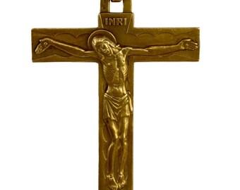 French Religious Gilded Bronze Cross Pendant Medal Charm - Religious Jewel Pendant Necklace