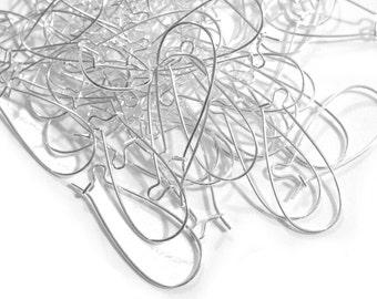 10pcs / 200pcs Wholesale Silver Kidney Ear Wire - Earring Hooks Silver - Oval Hoop Ear Finding Supplies - Nickel Free Hypoallergenic