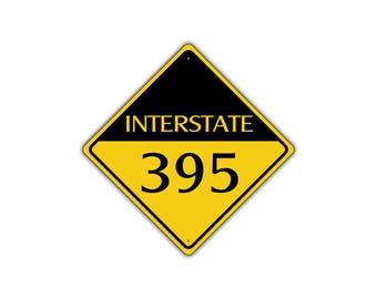 INTERSTATE 395 Highway Metal Aluminum Road Novelty Sign 12x12