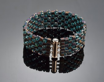 Jewelry Bracelet Beadwork Swarovsky Crystals Bracelet  Twinkling Bracelet Dark Blue colour Bracelet