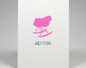 Eames Rocker Letterpress Print - You Rock - 5 x 7