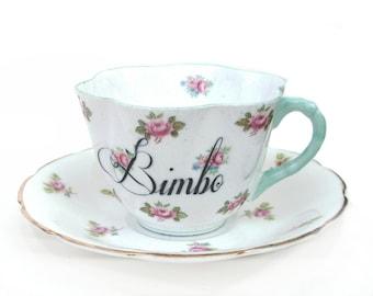 SALE - Damaged  - Bimbo Altered Vintage Teacup and Saucer