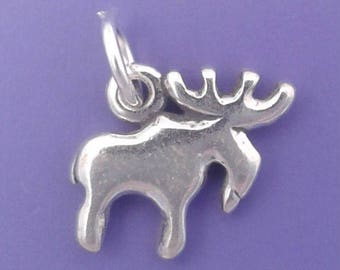 MOOSE or ELK Charm .925 Sterling Silver Charm Small Pendant - lp2626
