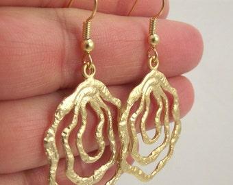 Bold Gold Wavy Earrings, Gold Earrings, Gift Under 30
