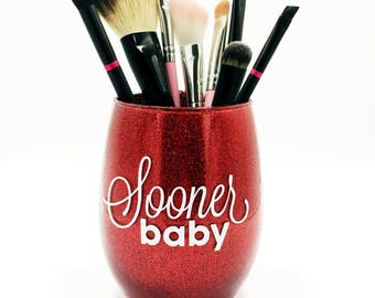 Sooner Baby - Red Glitter Makeup Brush Holder, Glitter Makeup Glass, Glitter Makeup Cup, Makeup Brush Holder
