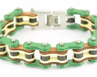 Men's Stainless Steel Green Yellow Black Bike Chain Bracelet US Seller