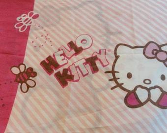 1 Vintage 2 Sided Pillowcase - Hello Kitty - Retro Kids Bedding, Girls Room Cartoon Cat Pillowcase, White Pink Bedroom Decor, Kawaii Fabric